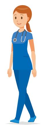 A woman nurse walking in a blue scrub is walking.