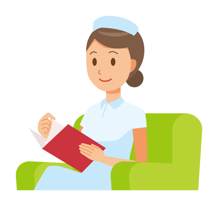 A woman nurse wearing a nurse cap and white coat sits on a sofa and is reading books.