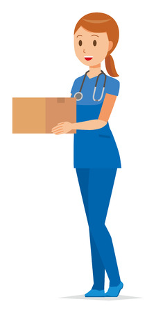 A woman nurse wearing a blue scrub has a cardboard box vector illustration. Illustration