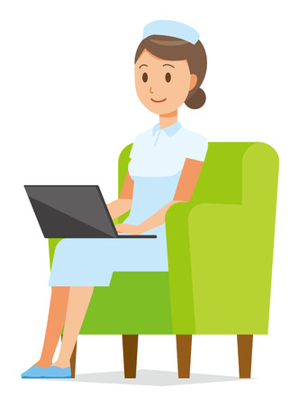 A woman nurse wearing a nurse cap and white coat sits on the sofa and is operating a laptop computer