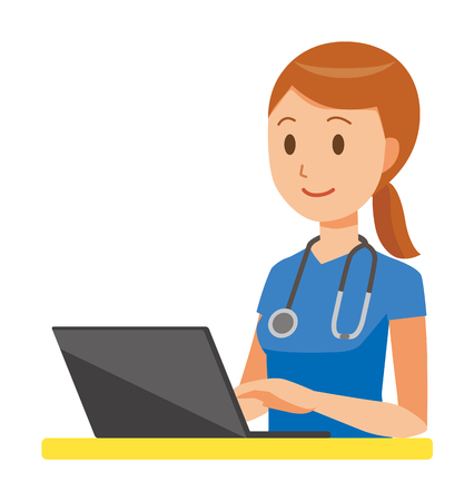 A woman nurse wearing a blue scrub is operating a laptop computer
