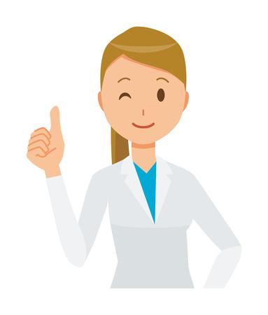 Eine Ärztin , die einen weißen Anzug trägt , der einen guten Zeichen tut Vektorgrafik