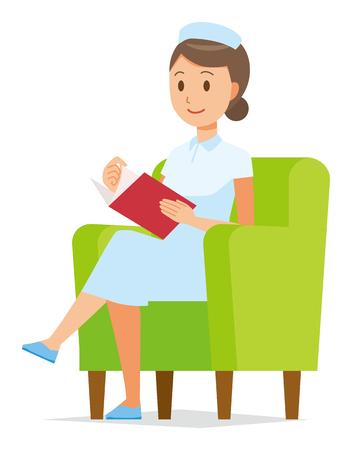 A woman nurse wearing a nurse cap and white coat sits on a sofa and is reading books Illusztráció