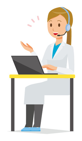 A female doctor wearing a white suit calls with a headset Illustration