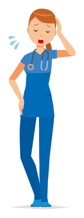 A woman nurse wearing a blue scrub is tired