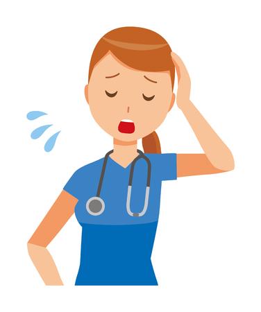 Een vrouwenverpleegster die een blauwe struik draagt, is moe.