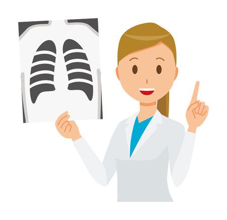 흰색 양복을 입고 여자 의사는 x- 레이 사진을하고있다. 일러스트