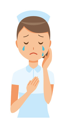 A woman nurse wearing a nurse cap and white coat is crying. Ilustracja