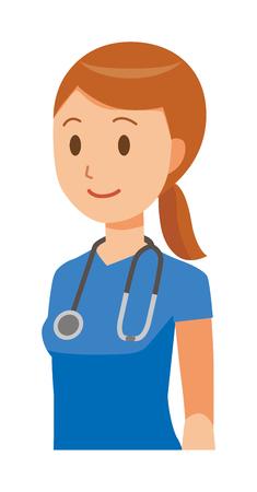 A female nurse wearing a blue scrub is standing obliquely