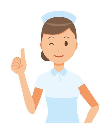 A woman nurse wearing a nurse cap and white coat has a good sign.