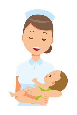 ナースの帽子と白のコートを着て女性看護師は、赤ちゃんを抱擁します。