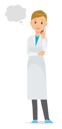 A female doctor wearing a white coat thinks. Ilustrace