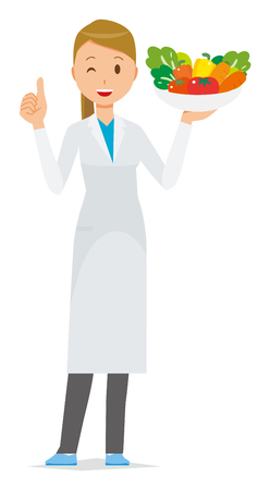 A woman doctor wearing a white suit has vegetables.