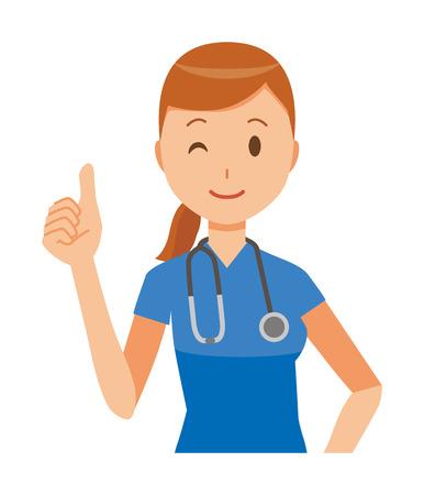 A female nurse wearing a blue scrub is doing a good sign