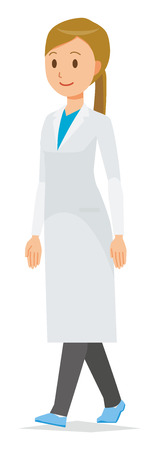 A woman doctor wearing a white suit is walking Vectores