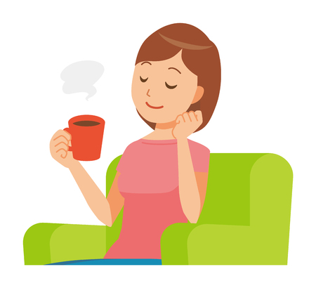Mommy wearing short sleeve clothes sits on the sofa and is drinking coffee