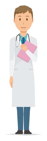 白いスーツを着た若い男性医師がファイルを持っている