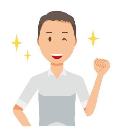 A man wearing a short sleeve shirt is raising his fist