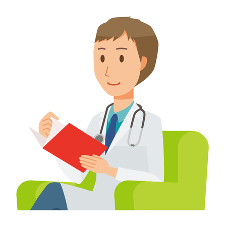A young male doctor wearing a white suit sits on a sofa and is reading books  イラスト・ベクター素材