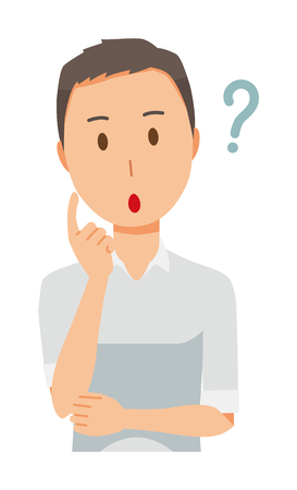 A man wearing a short sleeve shirt thinks Illustration