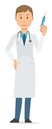 A young male doctor wearing a white suit has a syringe Illustration