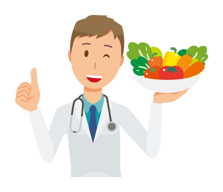 A young male doctor wearing a white suit has vegetables Ilustracja