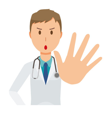 A young male doctor wearing a white suit is giving out his hand
