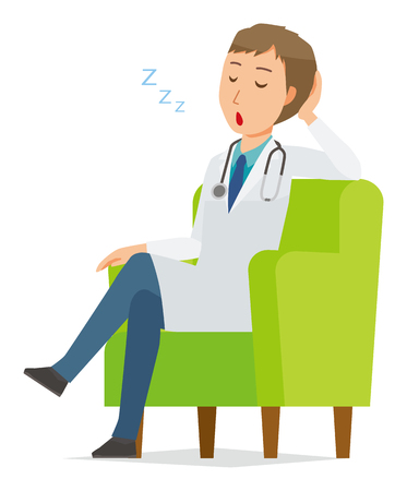 A young male doctor wearing a white coat is sitting on a sofa and being dozing off