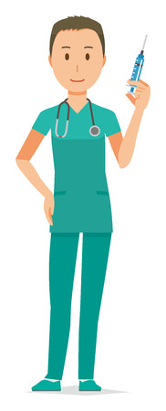 A male doctor wearing a green scrub has a syringe Illustration