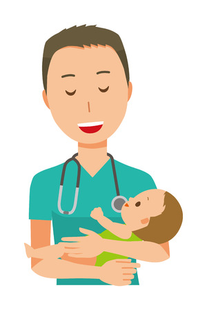 A male doctor wearing a green scrub is hugging a baby.