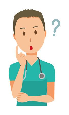 Un medico maschio che indossa un verde sfrega sta pensando all'illustrazione.