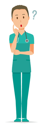 A male doctor wearing a green scrub is thinking illustration. Vettoriali