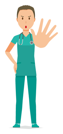 A male doctor wearing a green scrub has given out his hand.  イラスト・ベクター素材