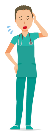 Male doctor in green scrub is tired illustration.