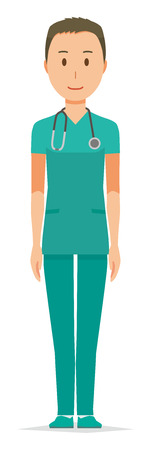 A male doctor wearing a green scrub is standing illustration. Ilustração