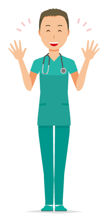 A male doctor wearing a green scrub is spreading his hands.