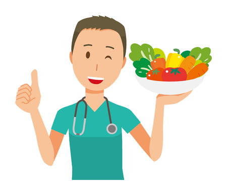 Male doctor in green scrub has vegetables illustration.