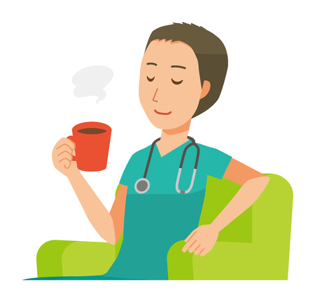 A male doctor wearing a green scrub sits on the sofa and is drinking coffee. Illustration