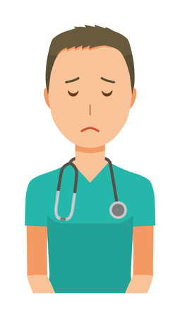A male doctor wearing a green scrub is apologizing illustration.