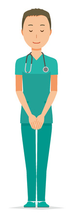 A male doctor wearing a green scrub is bowing illustration. Illustration