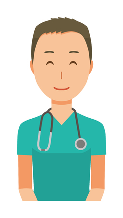 A male doctor wearing a green scrub is smiling illustration. Illustration