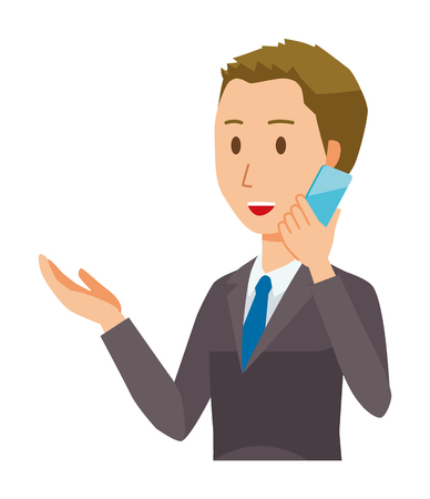 A young businessman is talking on a smartphone Illustration