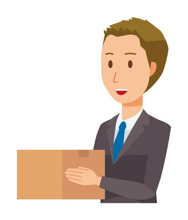 A young businessman has a cardboard box
