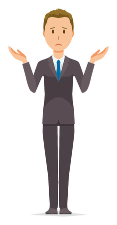 A young businessman is shrugging his shoulders Illustration