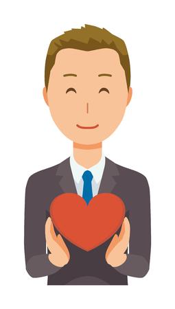 Ein junger Geschäftsmann hat eine Herzzeichen Vektorgrafik