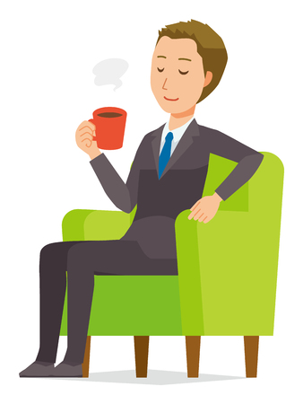 A young businessman is sitting on the sofa and drinking coffee Illustration