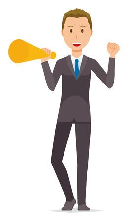 Young businessmen have megaphones