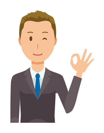 A young businessman is playing an okay sign Illustration