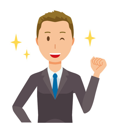 Young businessman is raising his fist. Illustration