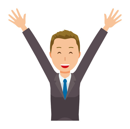 A young businessman is raising up his hands.